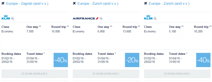 Air France-KLM Flying Blue Promo Awards February 2016 For Travel April & May Europe Specials 15