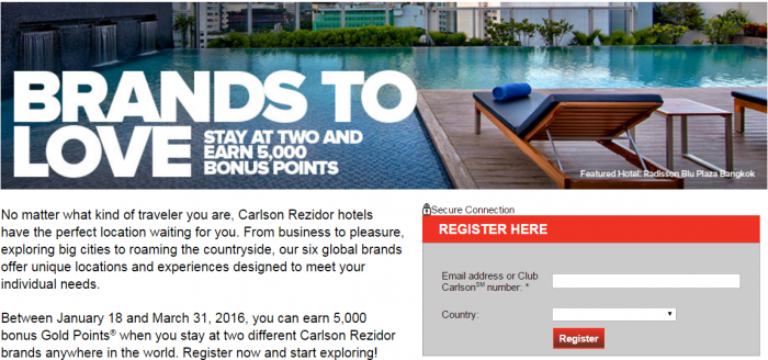 Club Carlson 5,000 Bonus Points Two Brands January 17 - March 31 2016