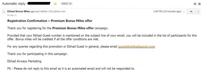 Etihad Airways Double & Triple Miles Confirmation