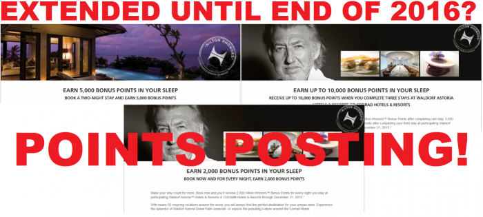Hilton HHonors Conrad & Waldorf Astoria Promotions Extended Points Posting
