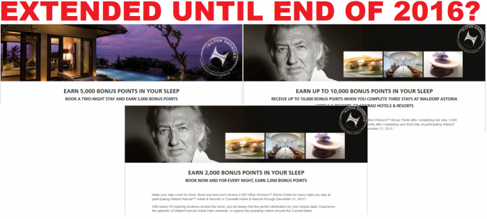 Hilton Hhonors Conrad & Waldorf Astoria Promotions Extended