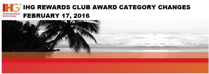 IHG Rewards Club Awards Category Changes February 17 2016