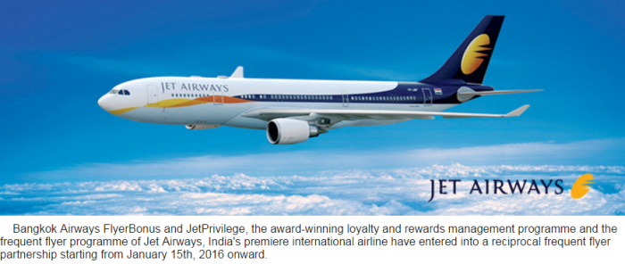 JetAirways & Bangkok Airways Partnership Launch January 15 2016