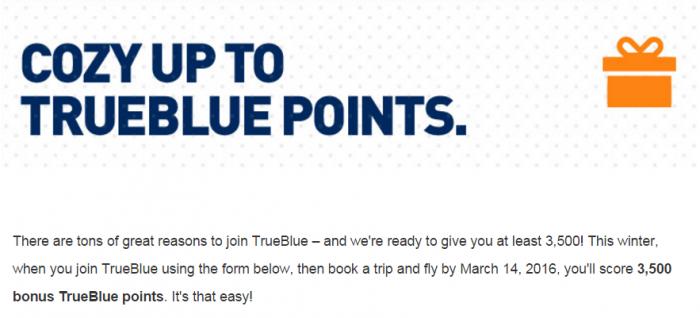 JetBlue TrueBlue 3500 Bonus Points First Flight January 25 - March 14 2016
