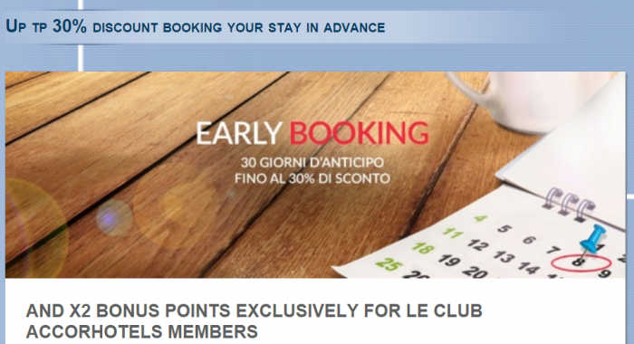 Le Club AccorHotels Italy Greece Israel Double Points February 29 - June 5 2016