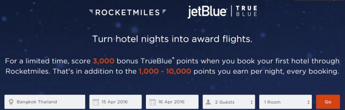 Rocketmiles JetBlue TrueBlue 3000 Bonus Miles March 31 2016