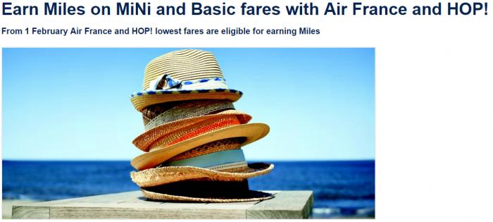 Air France HOP FlyinBlue Mini Basic Award Level Miles