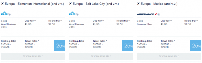 Air France-KLM Flying Blue Promo Awards May 1 - June 30 2016 US & Canada 1