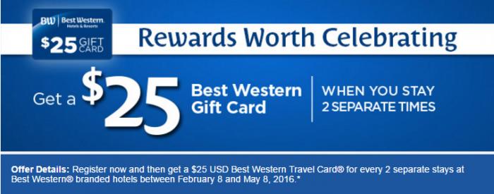 Best Western Rewards $25 Travel Card Promo February 8 - May 8 2016