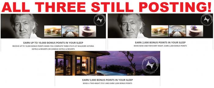 Hilton HHonors Conrad & Waldorf Astoria Three Bonus Offers 2016