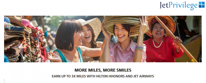 Hilton HHonors JetAirways JetPrivilege Double & Triple Miles February 1 - April 30 2016