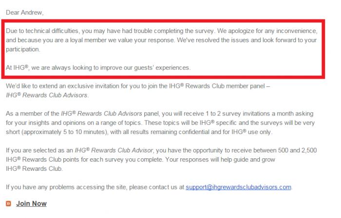 IHG Rewards Club Advisors Follow Up