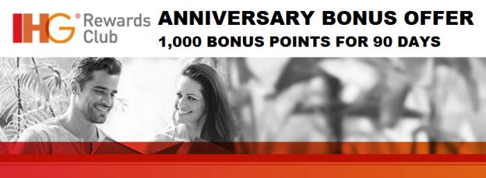 IHG Rewards Club Anniversary Bonus Offer 1,000 Points 90 Days