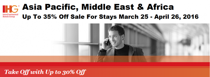 IHG Rewards Club Asia, Middle East & Africa Up To 35 Percent Off Sale For Stays March 25 - April 26 2016 U