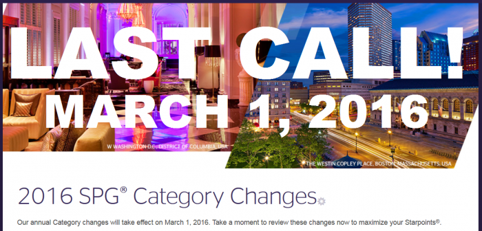 LAST CALL SPG Award Category Changes March 1 2016