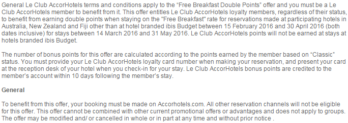 Le Club AccorHotels Australia, Fiji & New Zealand Breakfast Inclusive Double Points Rate March 14 - May 31 2016 TCs 2