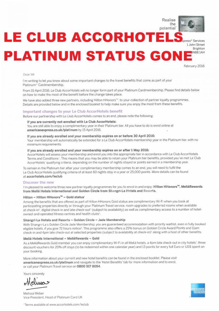Le Club AccorHotels Platinum Amex Platinum UK