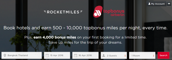 Rocketmiles Airberlin Topbonus 4,000 Bonus Miles March 31 2016