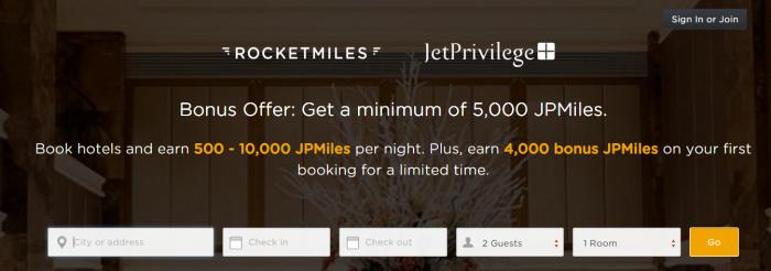Rocketmiles Jet Airways JetPrivilege 4,000 Bonus Miles Until March 31 2016