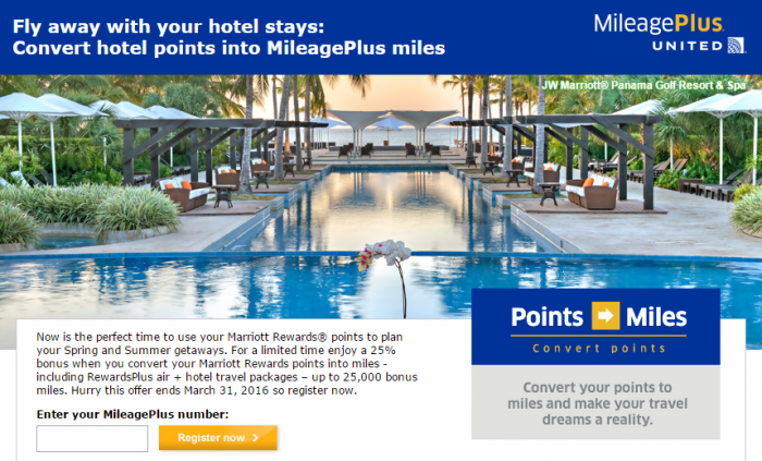 United Airlines Marriot Rewards Points To MileagePlus Miles Conversion Bonus