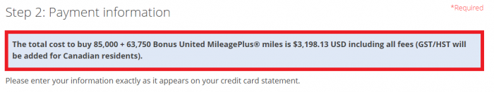 United Airlines MileagePlus Buy Miles Promotion Price