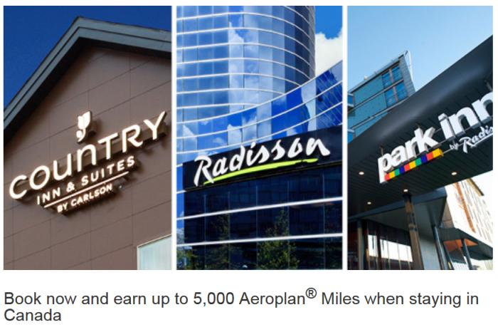 Club Carlson Country Inns Radisson Park Inn Up To 5,000 Bonus Aeroplan Miles March 15 - May 31 2016