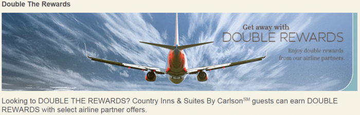 Club Carlson Country Inns & Suites Double Airlines Miles American & United March 1 - April 30 2016