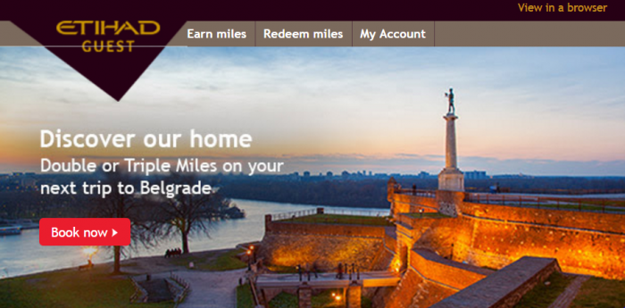 Etihad Guest Air Serbia Belgrade - New York Double & Triple Miles