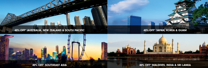 Hilton HHonors Asia-Pacific 40 Percent Off Flash Sale Countries