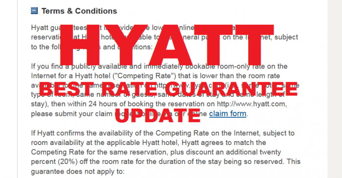 Hyatt Best Rate Guarantee Update