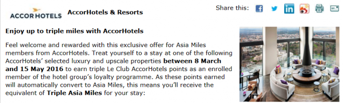 Le Club AccorHotels Cathay Pacific Double & Triple Miles March 8 - May 15 2016