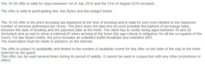 Le Club AccorHotels Ibis FIxed Price Offer Summer 2016 Terms