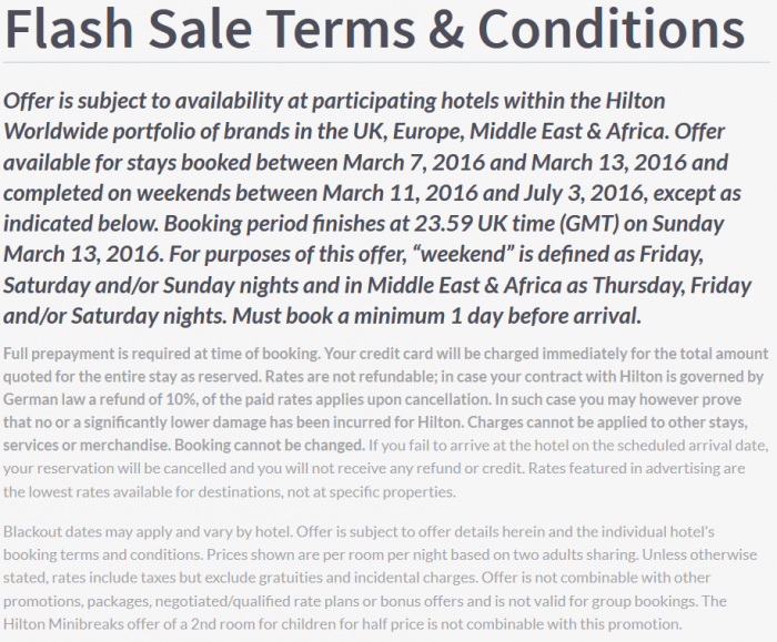 PREVIEW Hilton HHonors Europe Middle East & Africa Up To 35 Percent Off Weekends Sale Until End Of December 2016 Terms 1
