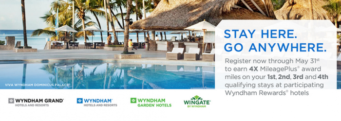 Wyndham Rewards United Airlines Quadruple Miles March 1 - May 31 2016
