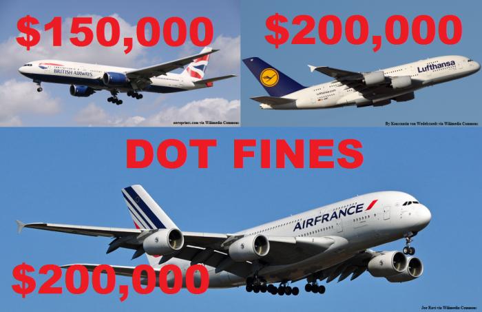 DOT Fines Lufthansa British Airways Air France