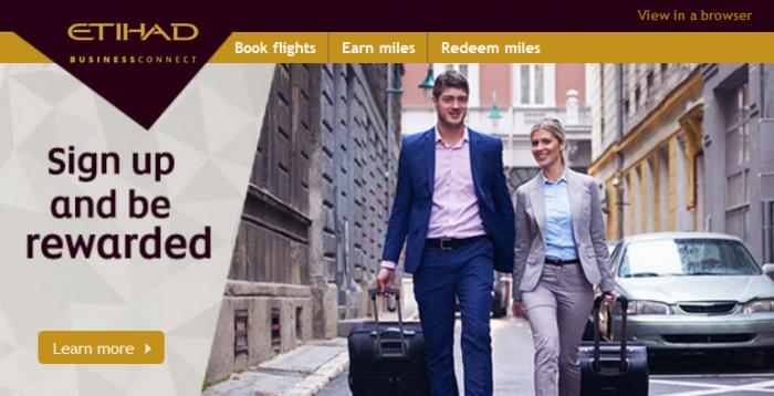 Etihad Airways Etihad BusinessConnect Sign Up Promotion