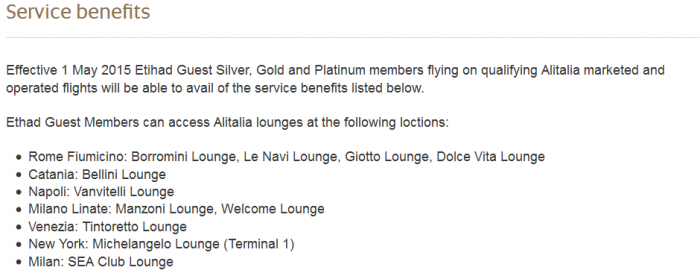 Etihad Guest Lounge Access Platinum Alitalia