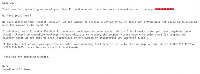 Expedia Best Price Guarantee Case Vayama Cheaper 7 Cents BRG Reply