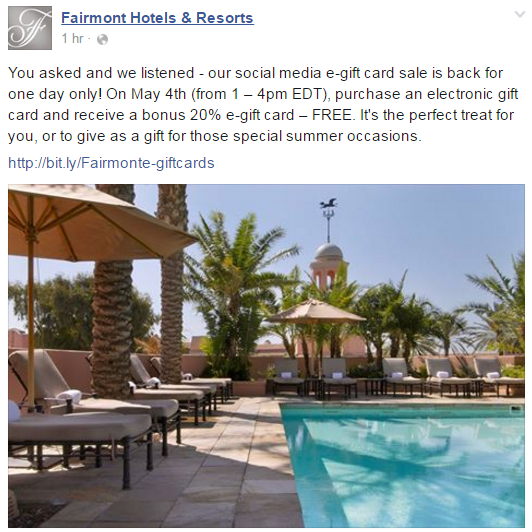 Fairmont Gift Card Deal