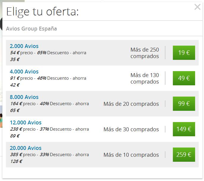 Groupon Spain Avios Amounts