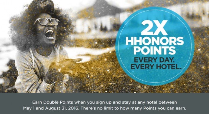 Hilton HHonors Double Points May 1 - August 31 2016