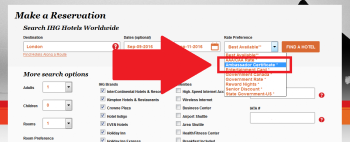 IHG Rewards Club InterContinental Ambassador Free Weekend Night Booking Link Rate Preference