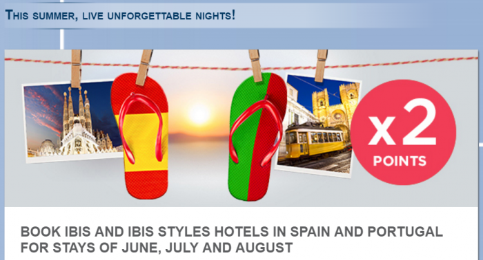 Le Club AccorHotels Ibis Spain & Portugal Double Points June 1 - September 5 2016