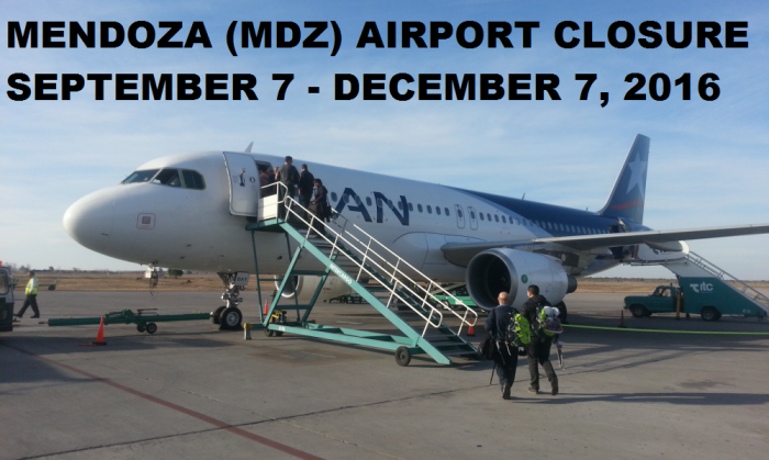 Mendoza MDZ Airport Closure September 7 - December 7 2016