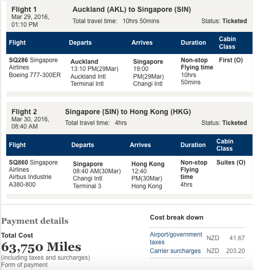 Singapore Airlines Ticket