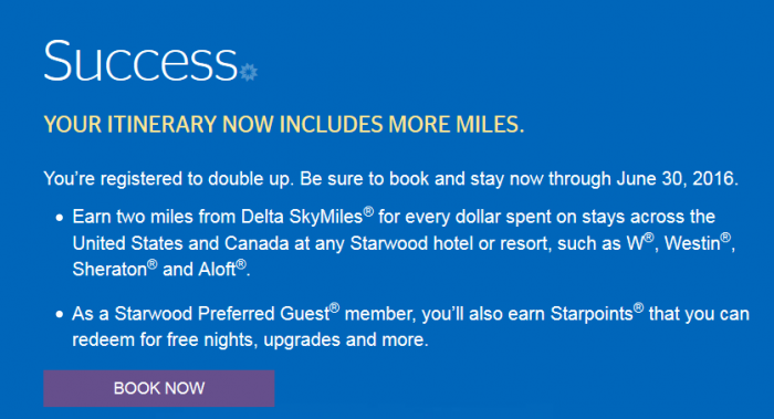 Starwood Preferred Guest Delta Air Lines Double Up Promotions April 1 - June 30 2016