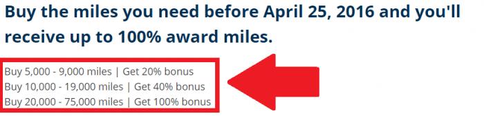 United Airlines Buy MileagePlus Miles APril 2016 Campaign Bonus