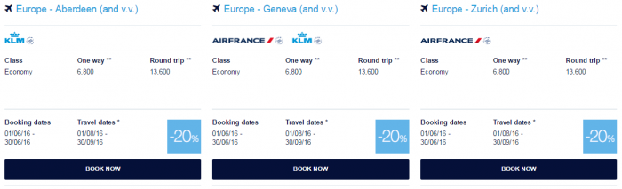 Air France-KLM Flying Blue June 2016 Promo Awards Europe 2