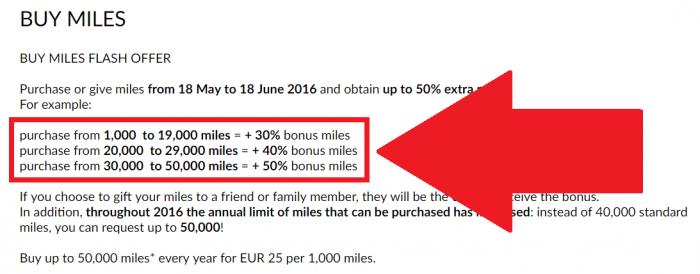 Alitalia MilleMiglia Buy Miles May 2016 Offer Table U