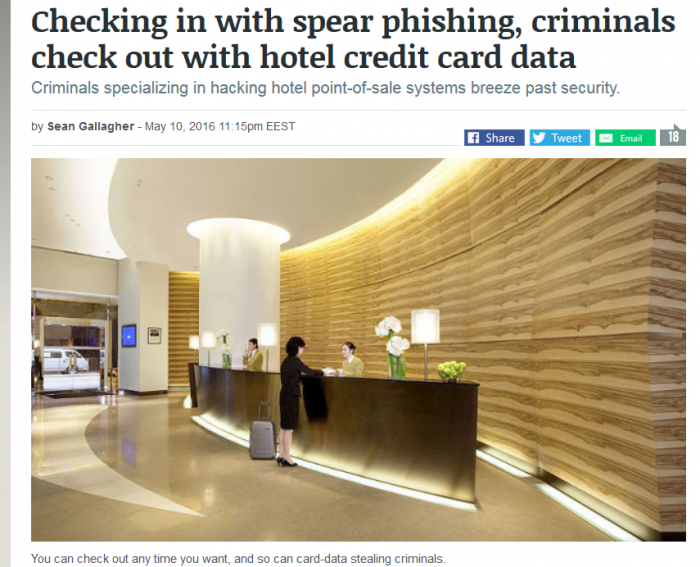 Arstechnica Checking in with spear phishing, criminals check out with hotel credit card data